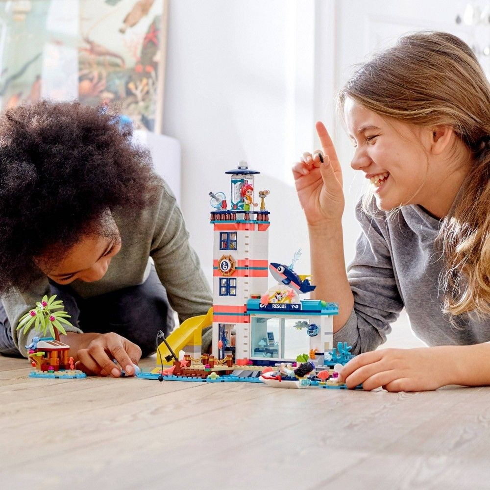 602 Pieces LEGO Friends Lighthouse Rescue Center 41380 Building Kit with Lighthouse Model and Tropical Island Includes Mini Dolls and Toy Animals for Pretend Play