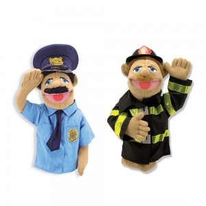 Melissa & Doug Rescue Puppet Set - Police Officer and Firefighter - Sale