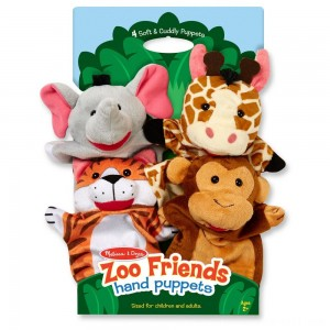 Melissa & Doug Zoo Friends Hand Puppets (Set of 4) - Elephant, Giraffe, Tiger, and Monkey - Sale