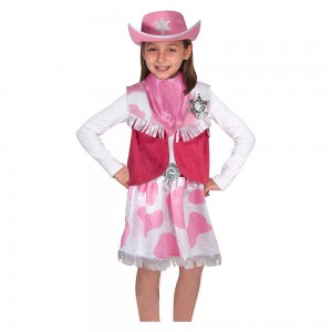 Melissa & Doug Cowgirl Role Play Costume Set (5pcs) - Skirt, Hat, Vest, Badge, Scarf, Adult Unisex - Sale