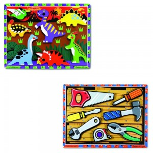 Melissa & Doug Wooden Chunky Puzzles Set - Tools and Dinosaurs 14pc - Sale