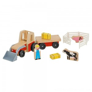Melissa & Doug Farm Tractor Wooden Vehicle Play Set (5pc) - Sale