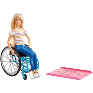 Barbie Fashionistas Doll #132 Blonde with Rolling Wheelchair and Ramp - Sale