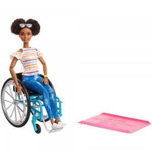 Barbie Fashionistas Doll #133 Brunette with Rolling Wheelchair and Ramp - Sale