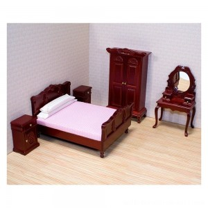 Melissa & Doug Classic Victorian Wooden and Upholstered Dollhouse Bedroom Furniture 6 pc - Sale