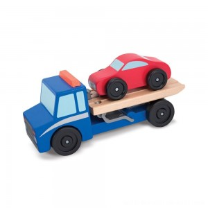 Melissa & Doug Flatbed Tow Truck Wooden Vehicle Set - Sale