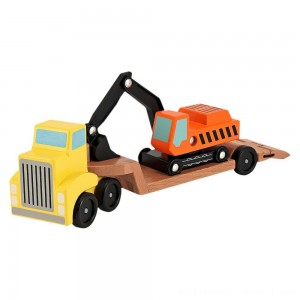 Melissa & Doug Trailer and Excavator Wooden Vehicle Set (3pc) - Sale