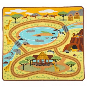 "Melissa & Doug Round the Savanna Safari Rug Activity Rug (39 X 36"") - Sale"