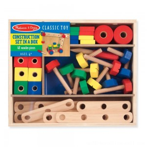Melissa & Doug Wooden Construction Building Set in a Box (48pc) - Sale