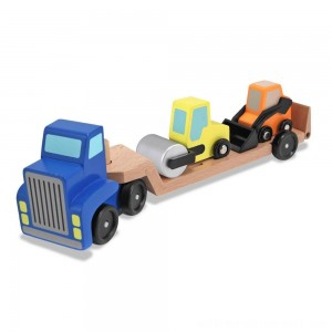 Melissa & Doug Low Loader Wooden Vehicle Play Set - 1 Truck With 2 Chunky Construction Vehicles - Sale