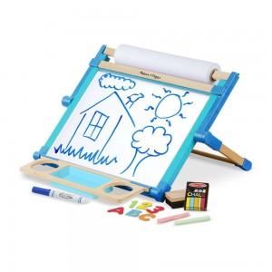 Melissa & Doug Double-Sided Magnetic Tabletop Art Easel - Dry-Erase Board and Chalkboard - Sale