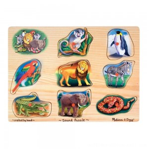 Melissa & Doug Zoo Sound Puzzle - Wooden Peg Puzzle With Sound Effects 8pc - Sale