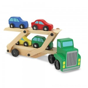 Melissa & Doug Car Carrier Truck and Cars Wooden Toy Set With 1 Truck and 4 Cars - Sale