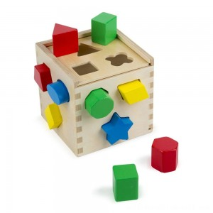 Melissa & Doug Shape Sorting Cube - Classic Wooden Toy With 12 Shapes - Sale