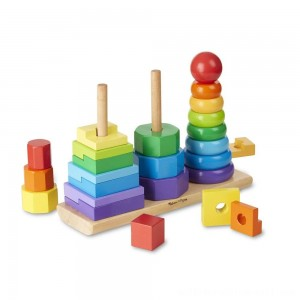 Melissa & Doug Geometric Stacker - Wooden Educational Toy - Sale