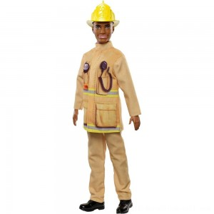 Barbie Ken Career Firefighter Doll - Sale