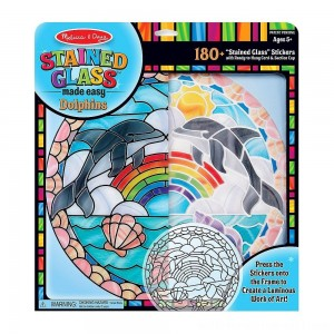 Melissa & Doug Stained Glass Made Easy Craft Kit: Dolphins - 180+ Stickers - Sale