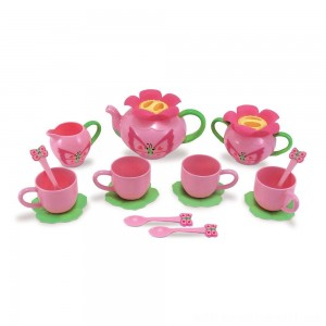 Melissa & Doug Sunny Patch Bella Butterfly Tea Set (17pc) - Play Food Accessories - Sale