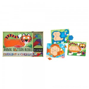 Melissa & Doug Animal Pattern Blocks Set With 5 Double-Sided Wooden Boards and 47 Multi-Shaped Blocks - Sale
