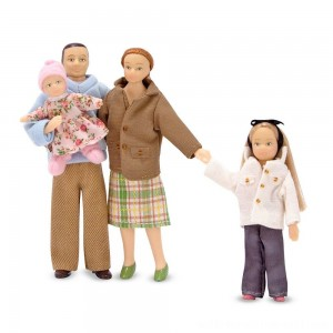 Melissa & Doug 4-Piece Victorian Vinyl Poseable Doll Family for Dollhouse - 1:12 Scale - Sale