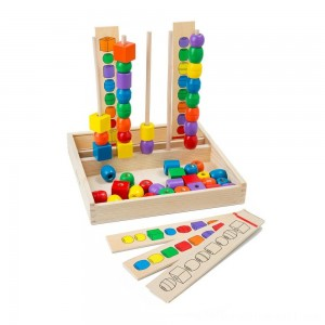 Melissa & Doug Bead Sequencing Set With 46 Wooden Beads and 5 Double-Sided Pattern Boards - Sale