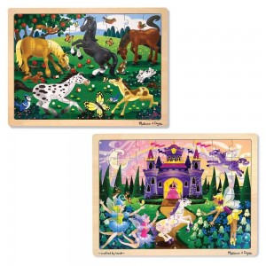 Melissa & Doug Wooden Jigsaw Puzzles Set - Fairy Princess Castle and Horses 2pc - Sale