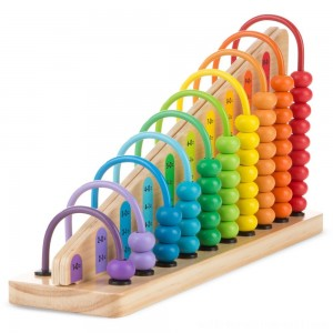 Melissa & Doug Add & Subtract Abacus - Educational Toy With 55 Colorful Beads and Sturdy Wooden Construction - Sale