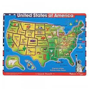 Melissa & Doug USA Map Sound Puzzle - Wooden Peg Puzzle With Sound Effects (40pc) - Sale