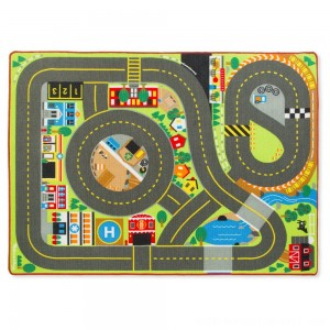 Melissa & Doug Jumbo Roadway Activity Rug With 4 Wooden Traffic Signs (79 x 58 inches) - Sale