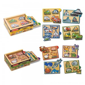 Melissa & Doug Wooden Mini-Puzzle Set With Storage and Travel Case 32pc - Sale