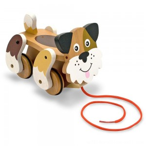 Melissa & Doug Playful Puppy Wooden Pull Toy for Beginner Walkers - Sale