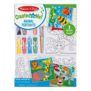 Melissa & Doug Canvas Painting Set: Animals - 3 Canvases, 8 Tubes of Paint - Sale