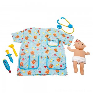 Melissa & Doug Pediatric Nurse Role Play Costume Set (8pc) - Includes Baby Doll, Stethoscope, Adult Unisex, Size: Newborn, Gold - Sale
