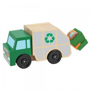 Melissa & Doug Garbage Truck Wooden Vehicle Toy (3pc) - Sale