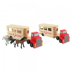 Melissa & Doug Horse Carrier Wooden Vehicle Play Set With 2 Flocked Horses and Pull-Down Ramp - Sale