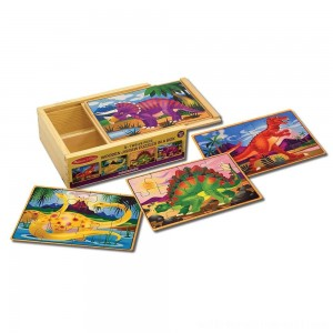 Melissa & Doug Dinosaurs 4-in-1 Wooden Jigsaw Puzzles in a Storage Box (48pc) - Sale