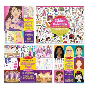 Melissa & Doug Sticker Pads Set: Jewelry and Nails, Dress-Up, Make-a-Face, Favorite Themes - 1225+ Stickers - Sale
