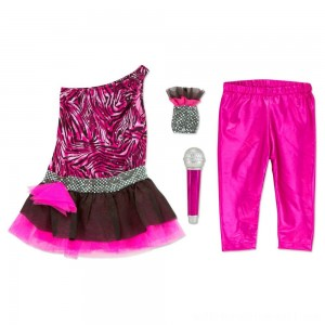 Melissa & Doug Rock Star Role Play Costume Set (4pc) - Includes Zebra-Print Dress, Microphone, Women's, Gold/Pink - Sale