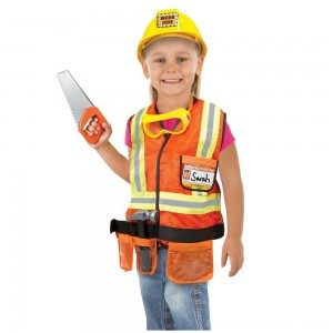Melissa & Doug Construction Worker Role Play Costume Dress-Up Set (6pc), Adult Unisex, Size: Large, Gold/Orange/Yellow - Sale