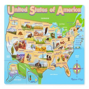 Melissa & Doug USA Map Wooden Jigsaw Puzzle 45pc - Sale