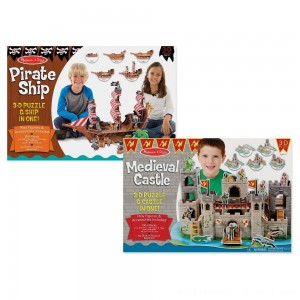 Melissa And Doug Pirate Ship And Medieval Castle 3D Puzzle 200pc - Sale