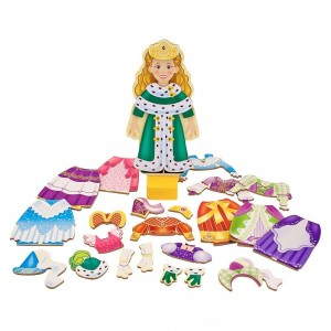 Melissa & Doug Deluxe Princess Elise Magnetic Wooden Dress-Up Doll Play Set (24pc) - Sale