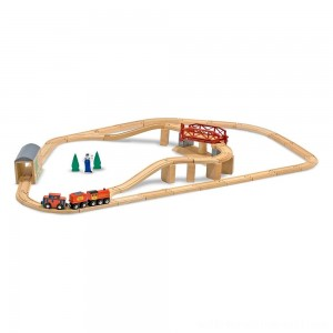 Melissa & Doug Swivel Bridge Wooden Train Set (47pc) - Sale