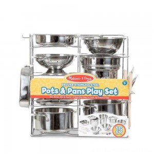 Melissa & Doug Deluxe Stainless Steel Pots & Pans Play Set - Sale