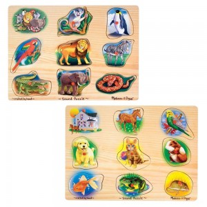 Melissa & Doug Sound Puzzles Set: Pets and Wild Animals Wooden Peg Puzzles 2pc - Sale