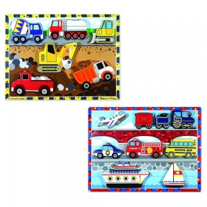 Melissa & Doug Wooden Chunky Puzzles Set - Vehicles and Construction 15pc - Sale