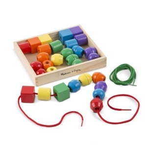 Melissa & Doug Primary Lacing Beads - Educational Toy With 30 Wooden Beads and 2 Laces - Sale
