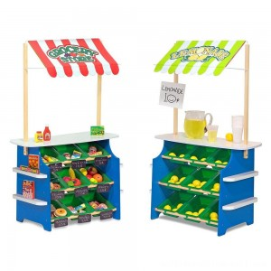 Melissa & Doug Wooden Grocery Store and Lemonade Stand - Reversible Awning, 9 Bins, Chalkboards - Sale