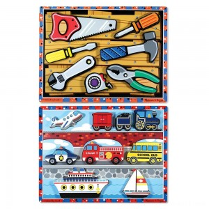 Melissa & Doug Doug Vehicles and Tools Wooden Chunky Puzzle Bundle 2pc - Sale