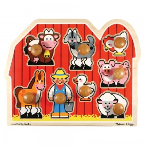 Melissa & Doug Farm Animals Jumbo Knob Wooden Puzzle 8pc - Sale